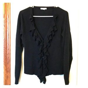 New York & Company Black cardigan with ruffles
